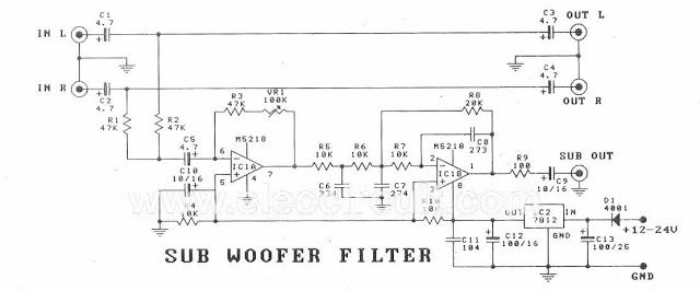Subwoofer Preamp Filter Circuit Schematic Electronics ... on