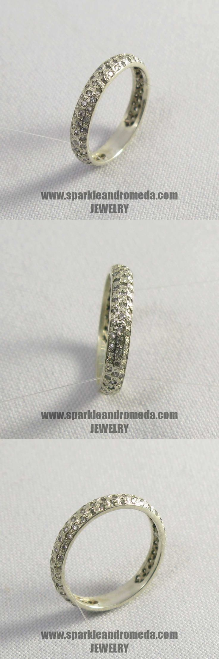 Sterling 925 silver ring with 88 round 1 mm white color cubic zirconia gemstones.