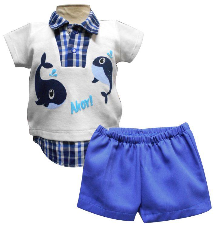 Playera manga corta con simulación camisa tipo polo y short. Tallas 3, 6, 12 y 18 meses.