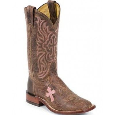 Tony Lama Cowgirl Boots W/ Pink Cross and Square Toe