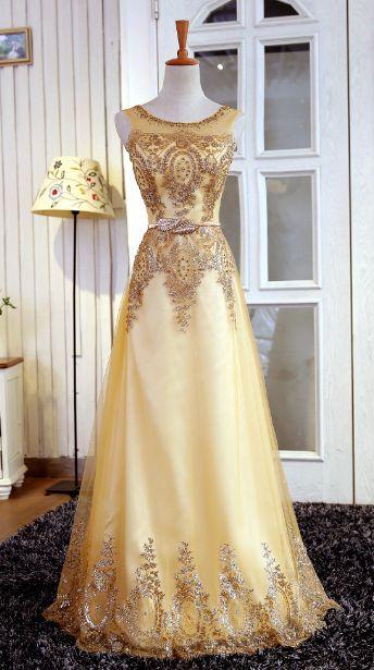 Gold Beading Prom Dress,Long Prom Dresses,Charming Prom Dresses,Evening Dress, Prom Gowns, Formal Women Dress,prom dress