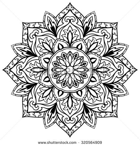 Vector Flower Mandala On A White Background The Circular Element Of Decor Sketch Tattoo