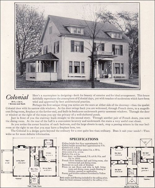 319 best vintage home plans images on pinterest vintage for Antique colonial house plans