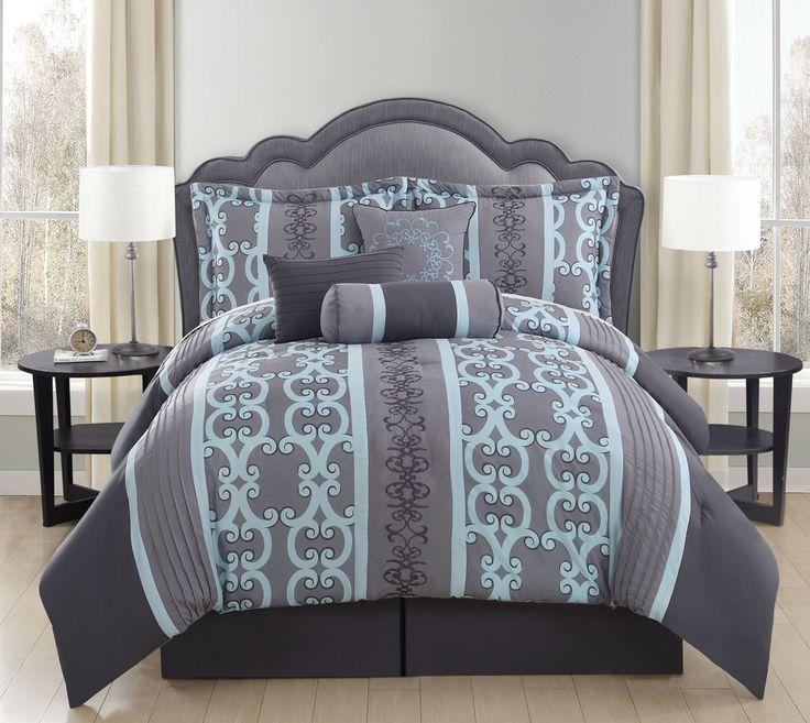 7 Piece Queen Zareen Gray Aqua Comforter Set. Best 25  Aqua comforter ideas on Pinterest   Dorm comforters  Aqua