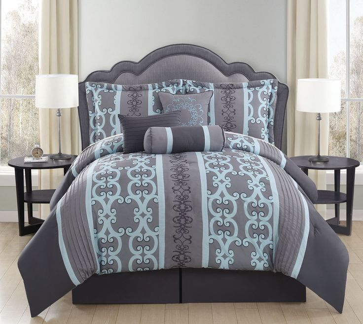 7 Piece Queen Zareen Gray Aqua forter Set