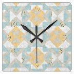 Modern Classy Unique Ethnic Mosaic Texture Look Square Wall Clocks  #Classy #clocks #Ethnic #Look #Modern #Mosaic #RusticClock #Square #Texture #Unique #Wall The Rustic Clock
