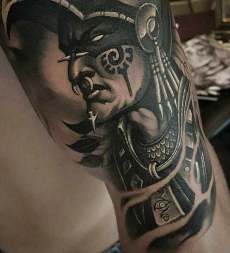 Aztec warrior by @tat2beny #mexicanstyle_tattoos #mexstyletats #mexicanculture #tattoo #tattoos #ink #inked #blackandgrey #blkngrey #aztec #azteca