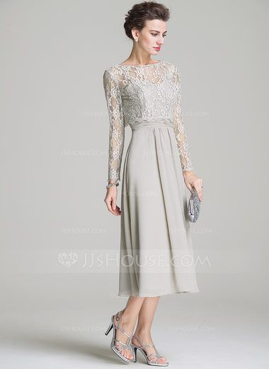 A-Line/Princess Sweetheart Tea-Length Chiffon Mother of the Bride Dress With Ruffle (008072687) - JJsHouse