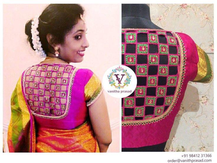 She is a stunner! Thank you Babitha Raj Kannan you look gorgeousu003C3 cutworkblouse  checkedpattern  multicolourblouse  kundanwork  Backneckstyle 06 May 2016 20 October 2016
