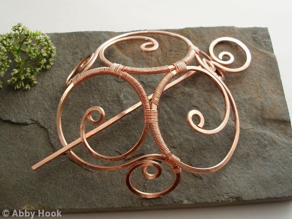Celtic Spirals Hair Barrette Or Bun cage - Extra Large