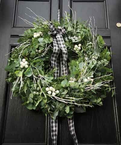 fresh Christmas wreath on black door