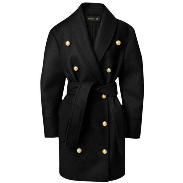 Pre-owned Balmain X H&m Pea Coat ($444) ❤ liked on Polyvore featuring outerwear, coats, jackets, balmain, coats & jackets, dark blue, fur-lined coats, shawl collar coat, tie belt and peacoat coat