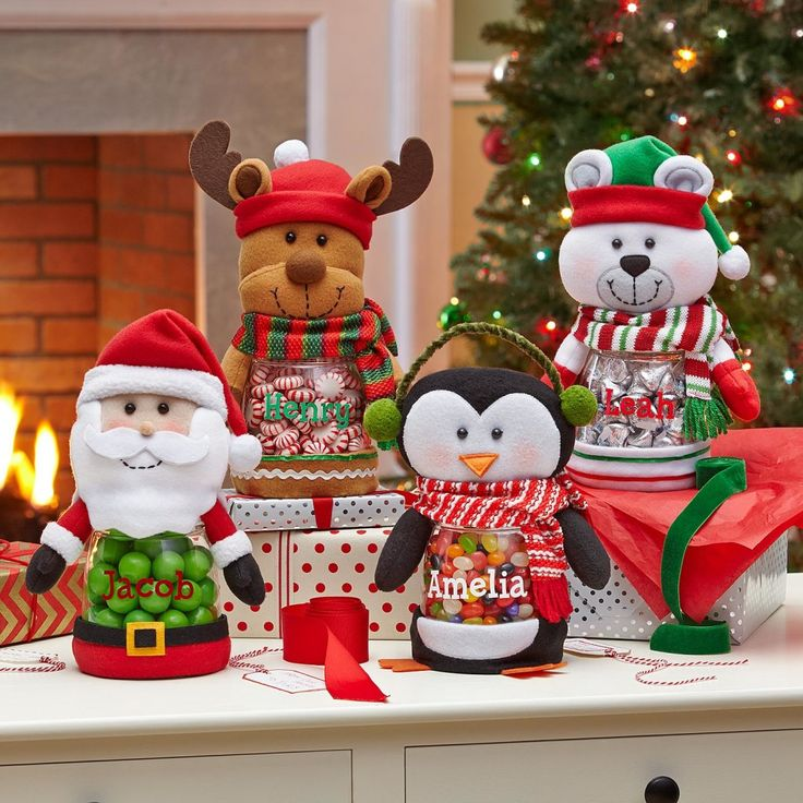 Personalized Christmas Treat Jars,are a sweet gift for the young and young at heart!Start a sweet new tradition our lovable holiday friends filled with Christmas delights.Available in Reindeer, Penguin, Santa and Polar Bear design. http://kittykatkoutique.com/personalized-christmas-treat-jars/