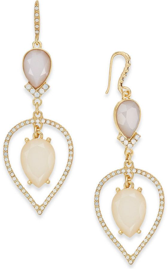 INC International Concepts Gold-Tone Stone & Pave Pear Drop Earrings, Created for Macy's