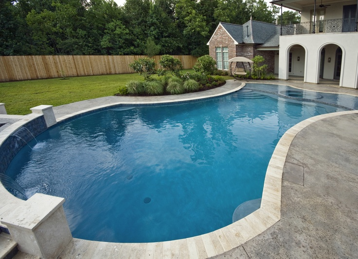354 best my pool images on pinterest swimming pools for Pool shapes with spa