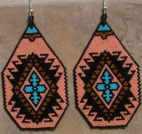 Hand MadePuebloBrick Stitch Seed Beaded Earrings by wolflady,