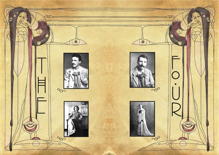 The Glasgow Four: Charles Rennie Mackintosh (1868-1928), Margaret Macdonald Mackintosh (1865-1933), Frances Macdonald MacNair (1873-1921) & James Herbert MacNair (1868-1955).