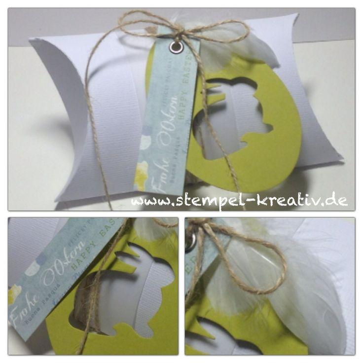 Pillowbox XXL mit ausgestanztem Sizzix Ei und Poppystamps Hase und einem Streifen DP Frohe Ostern