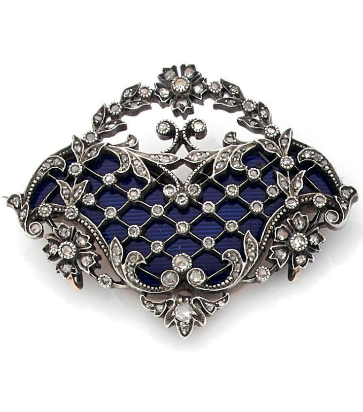 A Belle Epoque old, silver, guilloché enamel and diamond brooch, late 19th to early 20th century.