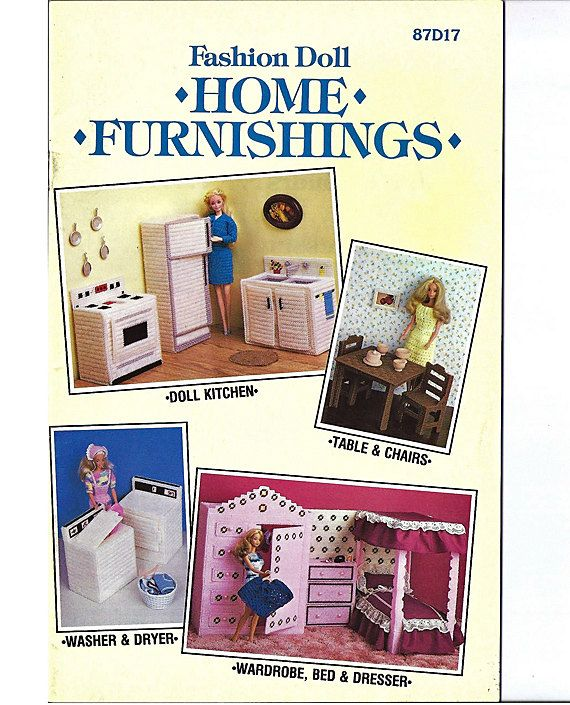 Fashion Doll Home Furnishings Plastic Canvas Furniture Pattern Annies Attic 87d17 Plastic