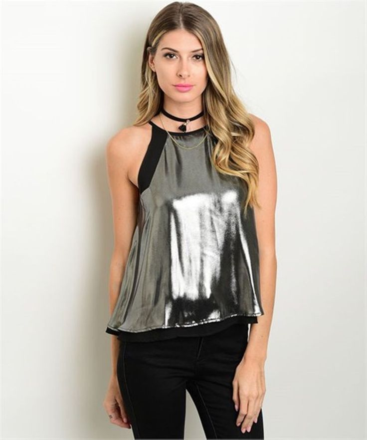 COWGIRL GYPSY LIQUID SILVER TOP TANK BLOUSE GLAM  Holiday PARTY Sexy SMALL #LILA #Halter