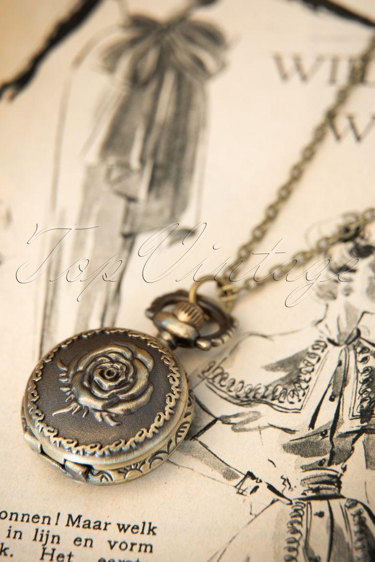 From Paris with Love! - Petit montre Rose zakhorloge brons ketting