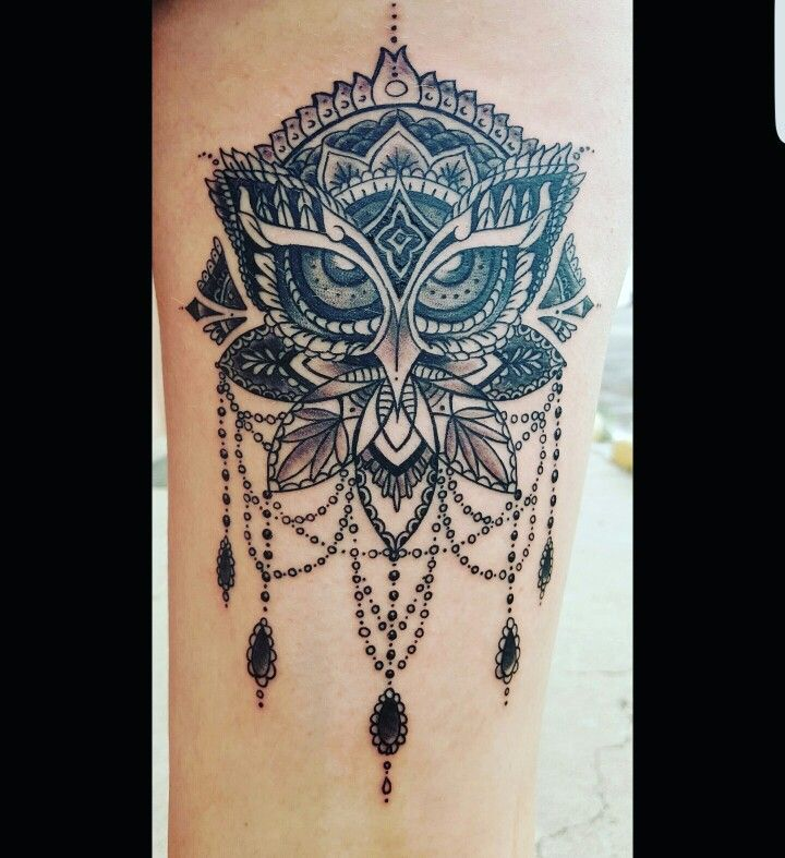 My very own with so much love  Owl inspired dream catcher patter tattoo