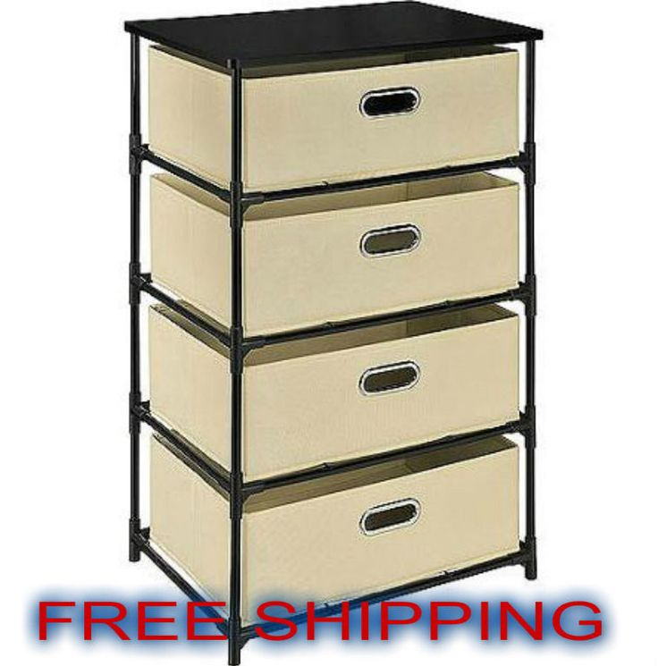 Storage Unit 4 Drawer Bedroom Clothes Organizer Canvas Metal Garage  Collapsible