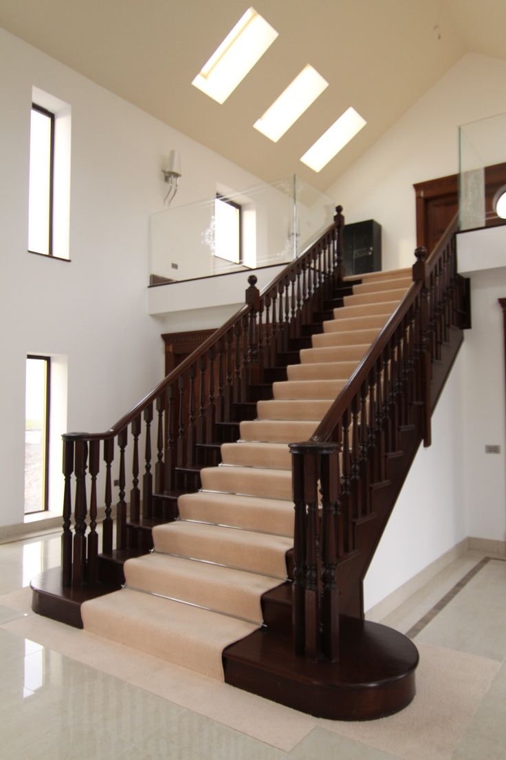 Best Mahogany Polished Staircase With A Volute Handrail And 400 x 300
