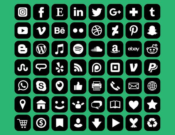 Square Social Media Icons Set Png Svg Vector Transparent Rounded Corner Black White Flat Buttons Website Digital Icons Commercial Use In 2021 Social Media Icons Media Icon Social Media Icons Free