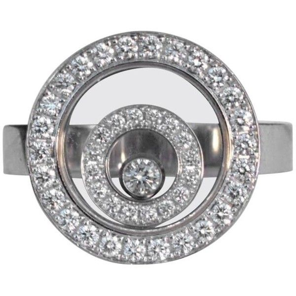 Preowned Chopard Happy Spirit Diamond Ring (308.985 RUB) ❤ liked on Polyvore featuring jewelry, rings, cocktail rings, multiple, statement rings, chopard rings, diamond jewelry and chopard jewelry