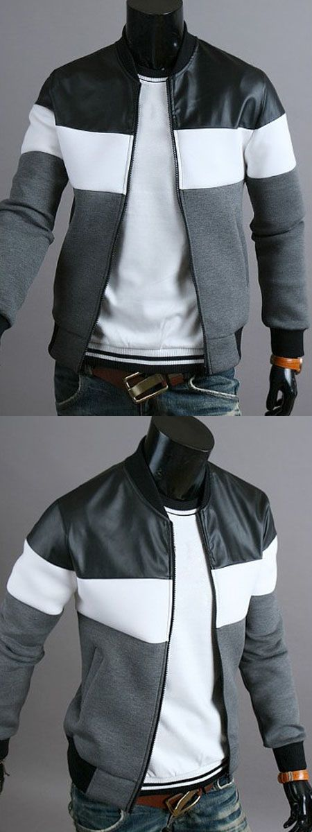 $16.04,Classic Color Block PU Leather Spliced Rib Hem Stand Collar Long Sleeves Men's Slimming Jacket - Deep Gray L | Rosewholesale,rosewholesale.com,rosewholesale clothes,rosewholesale.com clothing,rosewholesale for men,rosewholesale hoodies,rosewholesale tops,rosewholesale jackets,mens jackets and coats,winter outfits,jackets&coats,jackets,coats | #tosewholesale #jackets #coats #menswear