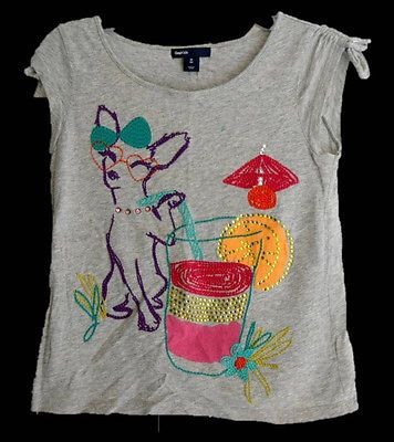 Gap Kids Girls Short Sleeve Shirt Top Dog Drink Tropical Size 8 M Medium