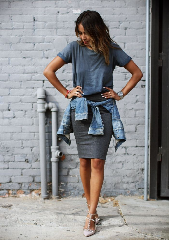 pencil skirt in sport chic outfit