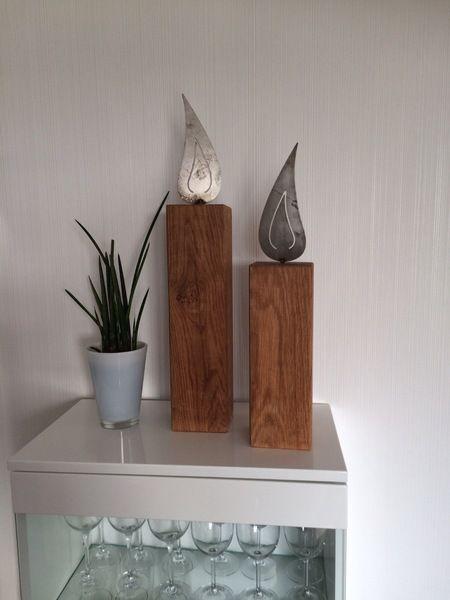Stele Teelicht Windlicht Eiche Holz Von Massive