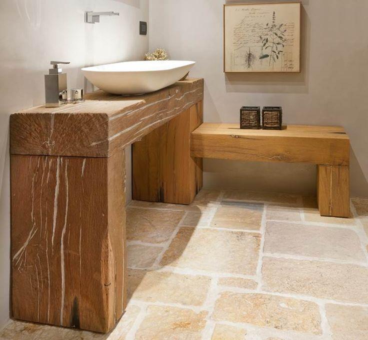 Mobile bagno in Rovere antico da travi  Arredamento  Pinterest  Mobiles