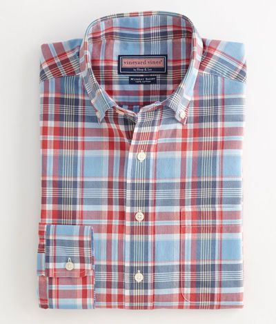 Men's Button-Down Shirts: Sea Anchor Madras Murray Shirt – Vineyard Vines