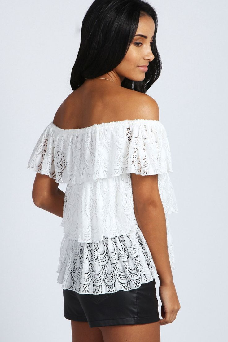 White Off-neck Cascading Ruffles Lace Top