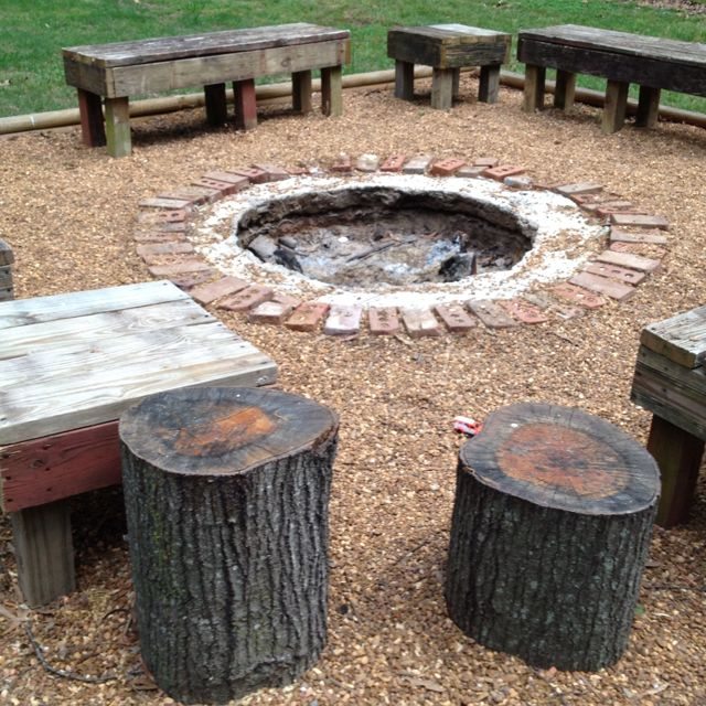 cut up fallen tree fire pit seats camping and outdoor fun pinter. Black Bedroom Furniture Sets. Home Design Ideas