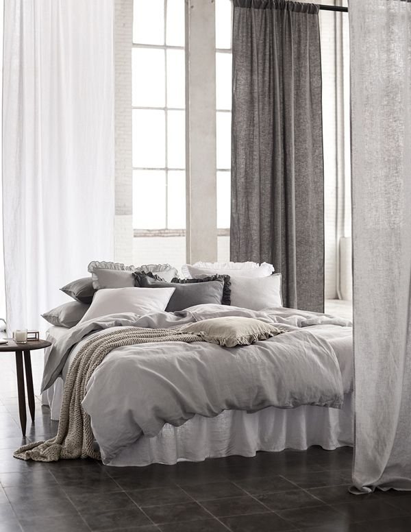 Relaxed and restful #bedroom. For similar cosy bedding try: http://www.naturalbedcompany.co.uk/product-category/bedding/natural-cotton-bedding/