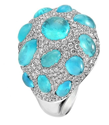 Paraiba Cabochon and Diamond Dome Ring - Akiva Gil Company - Product Search - JCK Marketplace