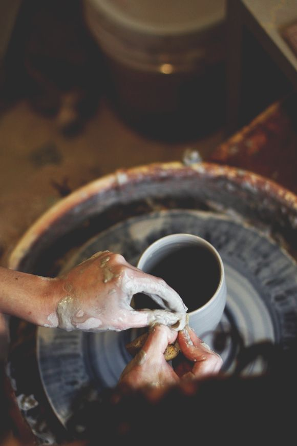 At the wheel with Victoria Smith Ceramics.