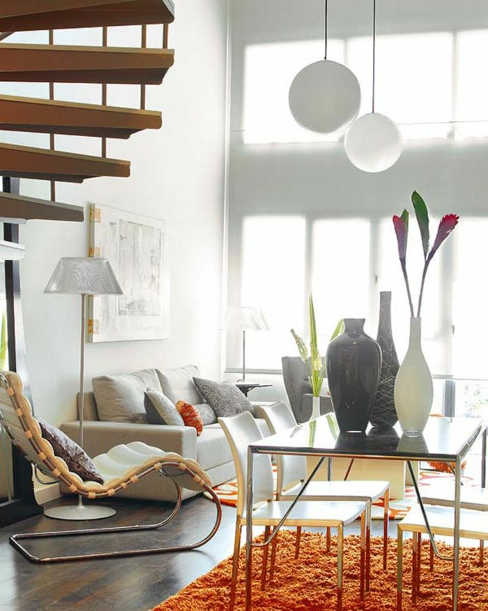 Wohnzimmer Einrichten Beispiele Oranger Teppich Essbereich Innentreppen