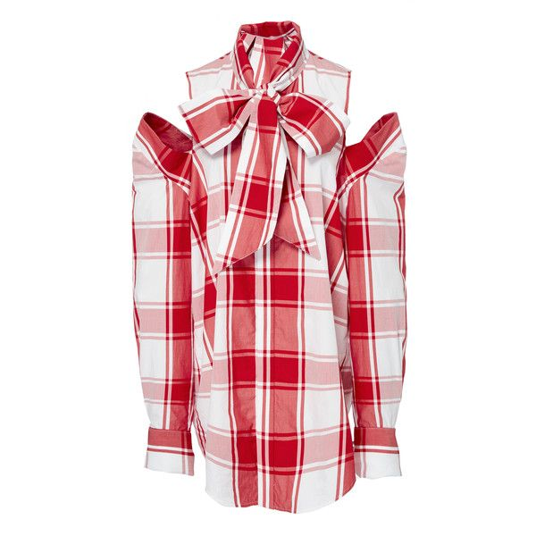Cold Shoulder Plaid Shirt | Moda Operandi via Polyvore featuring tops, red, cotton plaid shirt, red top, cotton shirts, open shoulder tops и red plaid top