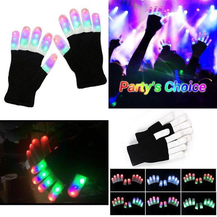 Flashing Rave Gloves Lighting 3 Color Finger Kids Toy LED Light Up Gloves Party #Vitalismo