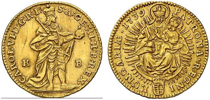 AV Ducat. Hungary Coins, Habsburg Rulers, Karl III. 1711-1740. Kremnitz mint, 1739 KB. 3,45g. F 171. Nearly EF. Price realized 2011: 550 USD.