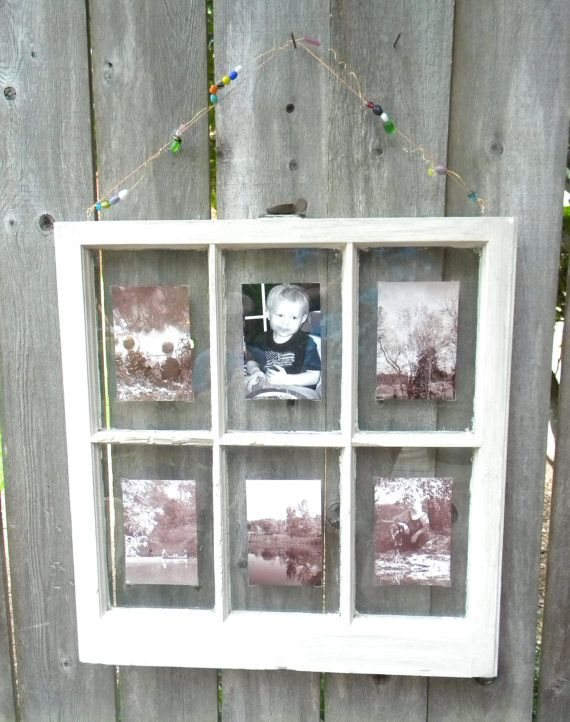 six pane antique window frame shabby rustic picture frame gray color washed clear photo corners hold photos in place beaded accent wire for hanging