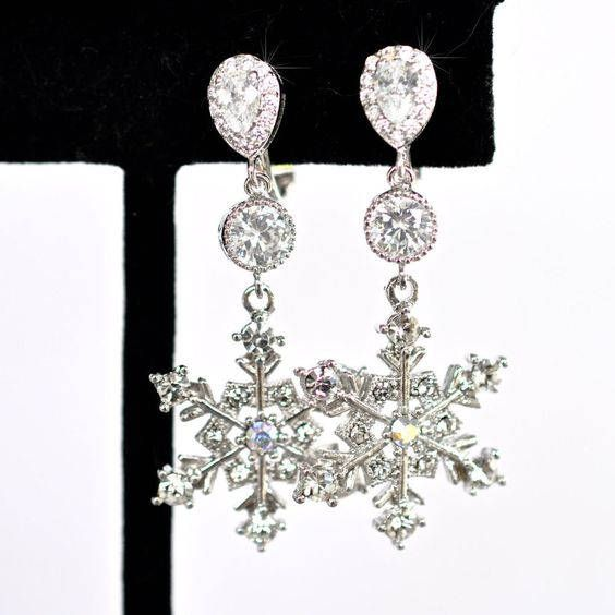 Handmade Clip-On CZ & Crystal Snowflake Dangle Earrings