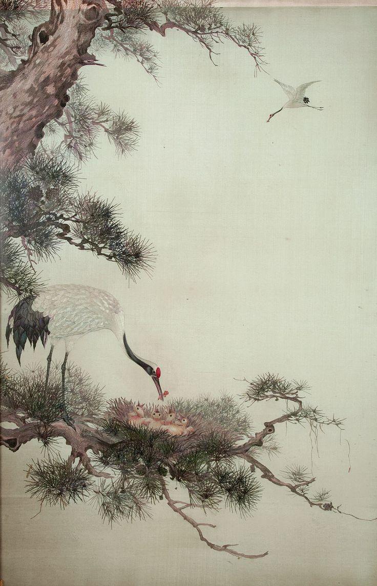 Autor nieznany, Żuraw z pisklętami na konarze sosny, poł. XX wieku #birds #ptaki #kolekcjaMNK #MNKcollection #kolekcja