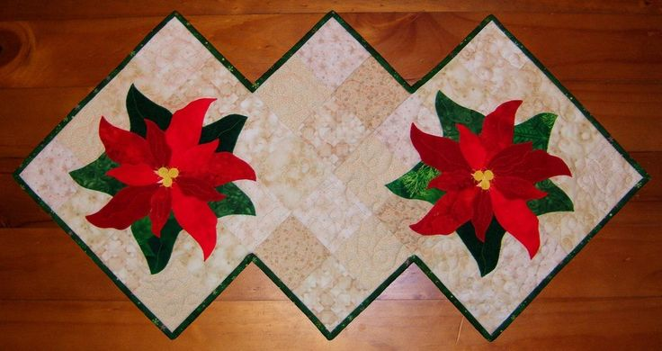 Poinsettia and Rose Table Runner – Tracey Roberts Designs